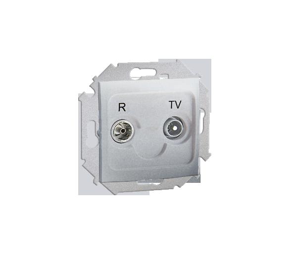 Gniazdo antenowe R-TV przelotowe tłum.:10dB aluminiowy, metalizowany 1591487-026