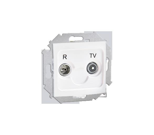 Gniazdo antenowe R-TV przelotowe tłum.:14dB biały 1591489-030