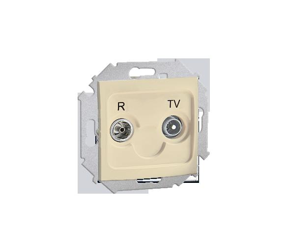 Gniazdo antenowe R-TV przelotowe tłum.:14dB beżowy 1591489-031