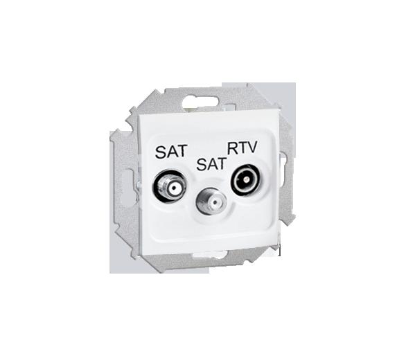 Gniazdo antenowe SAT-SAT-RTV satelitarne podwójne tłum.:1dB biały 1591038-030