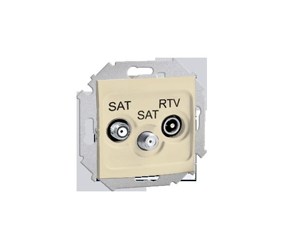 Gniazdo antenowe SAT-SAT-RTV satelitarne podwójne tłum.:1dB beżowy 1591038-031
