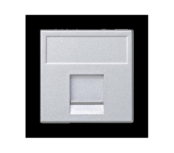 Plakietka teleinformatyczna K45 keystone pojedyncza płaska uniwersalna z osłoną 45×45mm aluminium K76/8