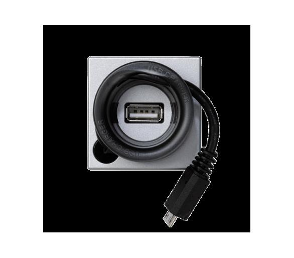 Ładowarka USB K45 USB-A + micro USB 5V DC 2A 45×45mm aluminium K126A/8