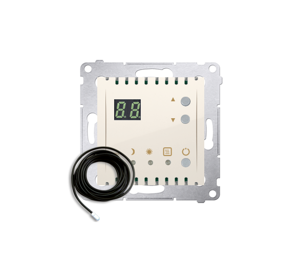 Regulator temperatury z wyświetlaczem z czujnikiem zewnętrzym (sonda) kremowy DTRNSZ.01/41