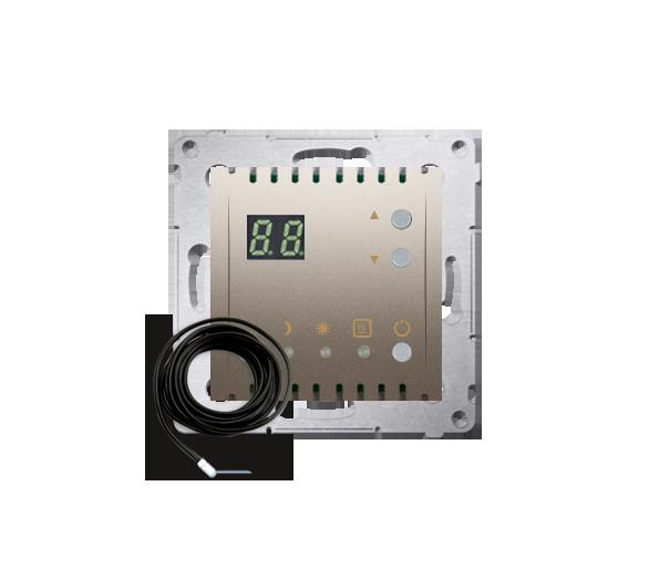 Regulator temperatury z wyświetlaczem z czujnikiem zewnętrzym (sonda) srebrny mat, metalizowany