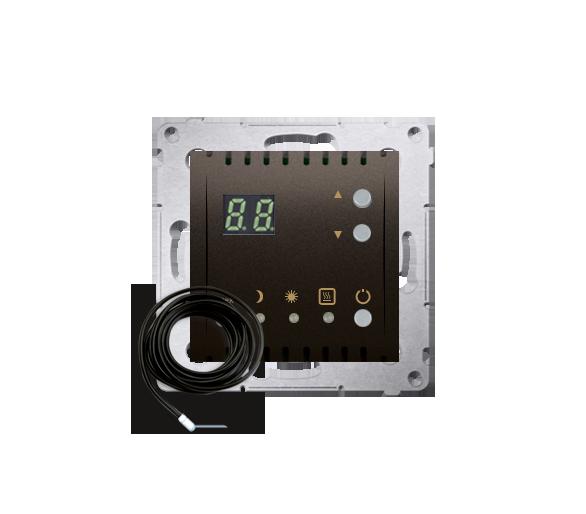 Regulator temperatury z wyświetlaczem z czujnikiem zewnętrzym (sonda) brąz mat, metalizowany
