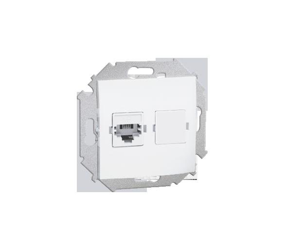 Gniazdo telefoniczne pojedyncze RJ12 biały