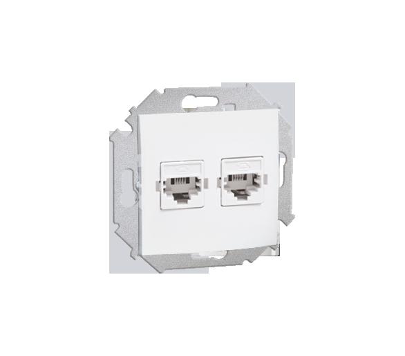 Gniazdo telefoniczne podwójne RJ12 biały 1591532-030