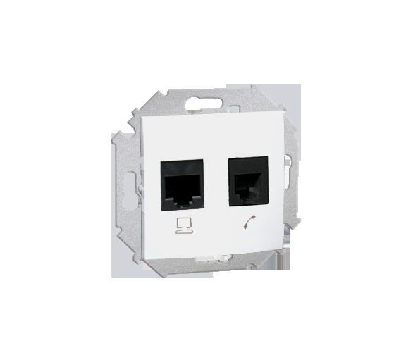 Gniazdo komputerowe RJ45 kategoria 6 + telefoniczne RJ12 biały
