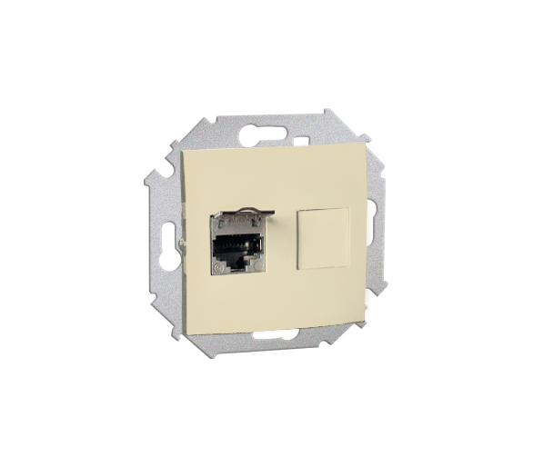 Gniazdo komputerowe podwójne RJ45 kategoria 5E, z przesłoną przeciwkurzową beżowy