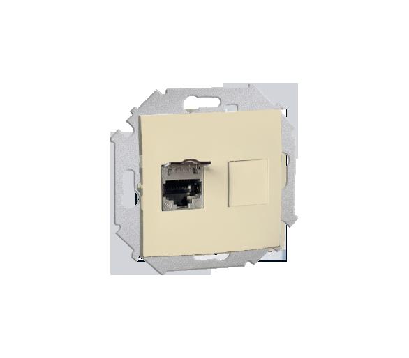 Gniazdo komputerowe pojedyncze ekranowane RJ45 kategoria 6, z przesłoną przeciwkurzową beżowy 1591563-031