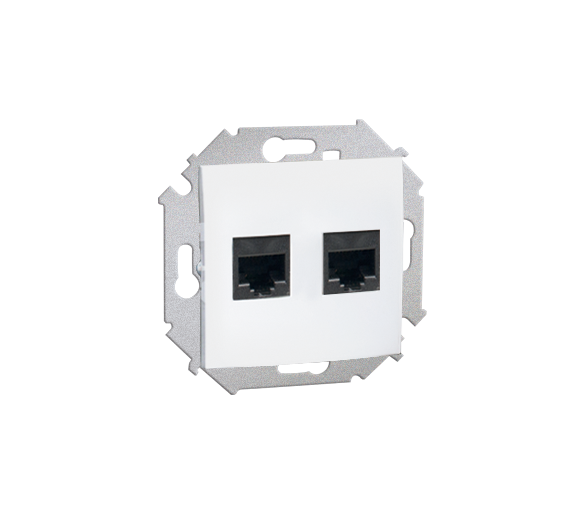 Gniazdo komputerowe podwójne RJ45 kategoria 5e biały