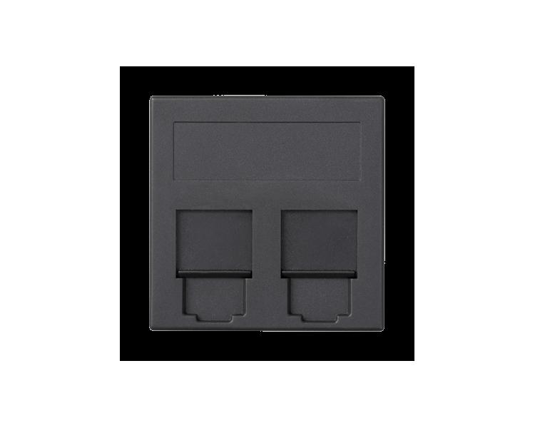 Plakietka teleinformatyczna SIMON 500 NEXANS podwójna płaska z osłonami 50×50mm szary grafit 50018089-038