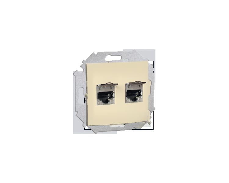 Gniazdo komputerowe podwójne RJ45 kategoria 5E, z przesłoną przeciwkurzową beżowy 1591554-031