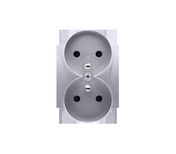 Pokrywa do gniazda wtyczkowego podwójnego z uziemieniem - do ramek NATURE srebrny mat, metalizowany DGZ2MZNP/43