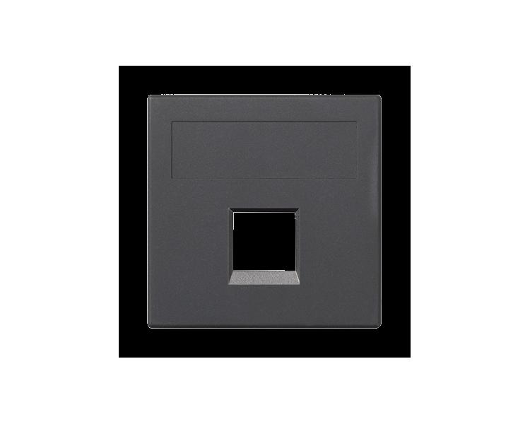 Plakietka teleinformatyczna SIMON 500 NEXANS pojedyncza bez osłon płaska 50×50mm szary grafit 50018185-038