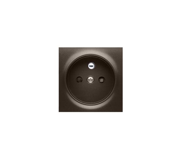 Pokrywa do gniazda wtyczkowego pojedynczego z uziemieniem brąz mat, metalizowany DGZ1ZP/46