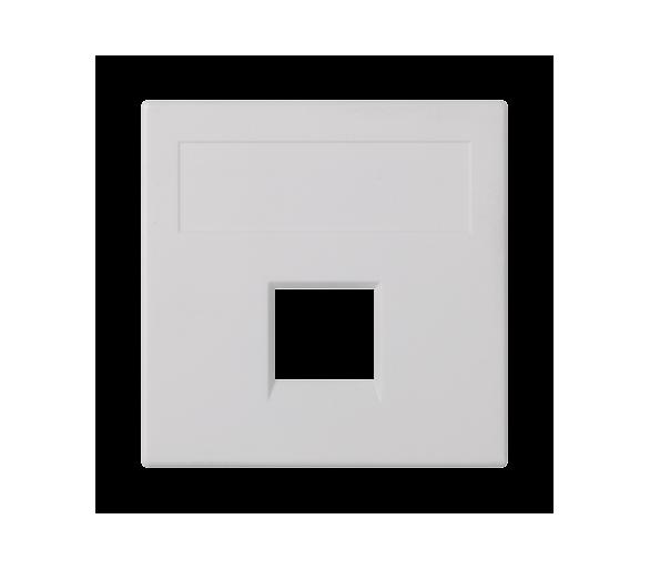 Plakietka teleinformatyczna SIMON 500 NEXANS pojedyncza bez osłon płaska 50×50mm czysta biel 50018185-030