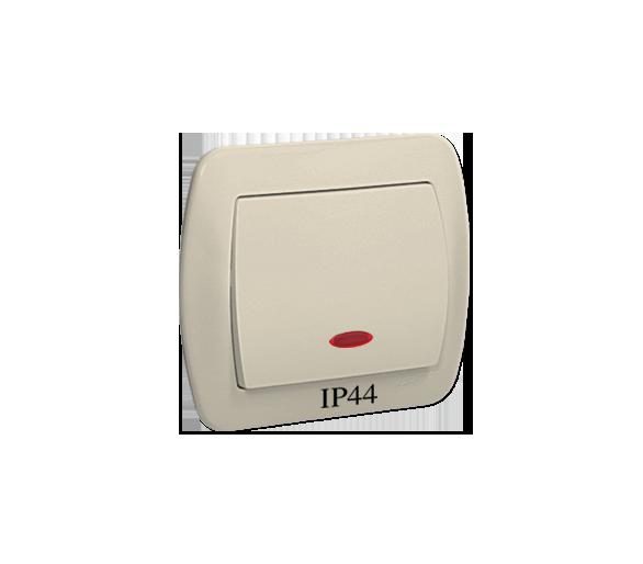 Łącznik jednobiegunowy z podświetleniem bryzgoszczelny beżowy 10AX AW1BL/12