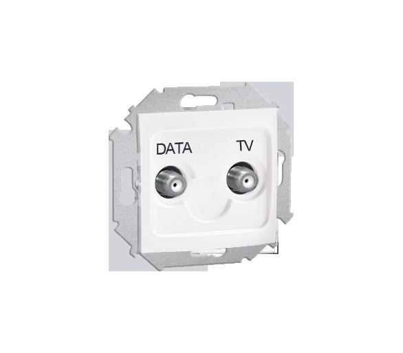 Gniazdo antenowe TV-DATA tłum.:5dB biały 1591049-030