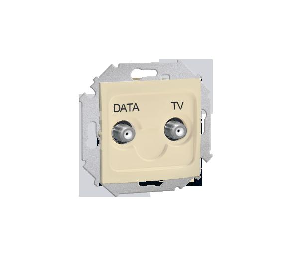 Gniazdo antenowe TV-DATA tłum.:5dB beżowy 1591049-031