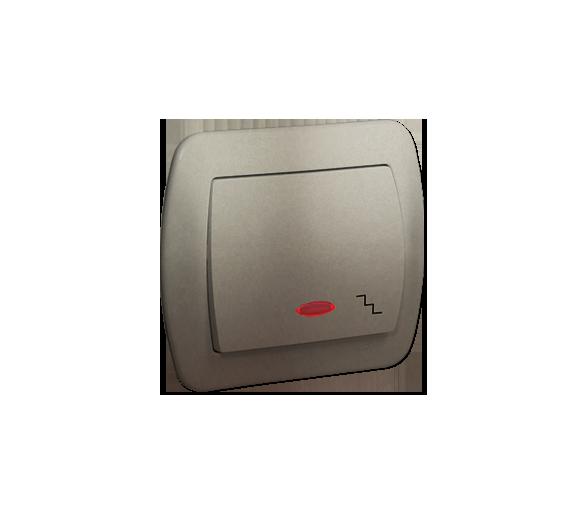 Łącznik schodowy z podświetleniem satynowy, metalizowany 10AX AW6L/29