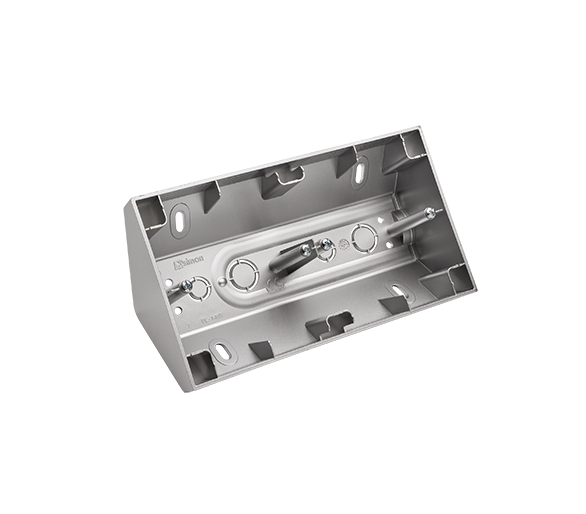 Puszka natynkowa narożna 2-krotna srebrny mat, metalizowany