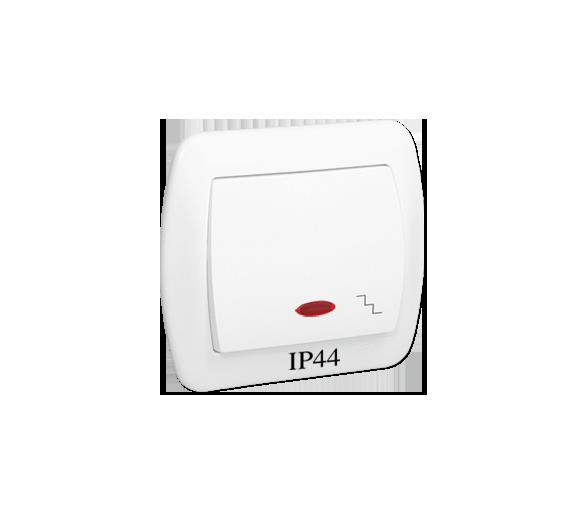 Łącznik schodowy  podświetleniem bryzgoszczelny IP44 biały 10AX AW6BL/11