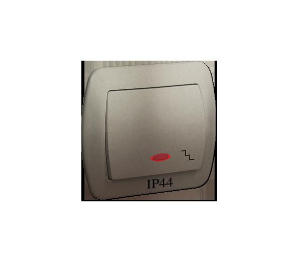 Łącznik schodowy  podświetleniem bryzgoszczelny IP44 satynowy, metalizowany 10AX AW6BL/29