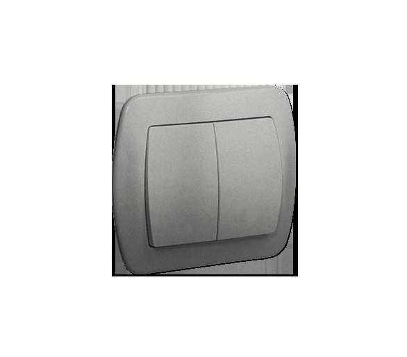 Łącznik schodowy podwójny z podświetleniem aluminiowy, metalizowany 10AX AW6/2L/26