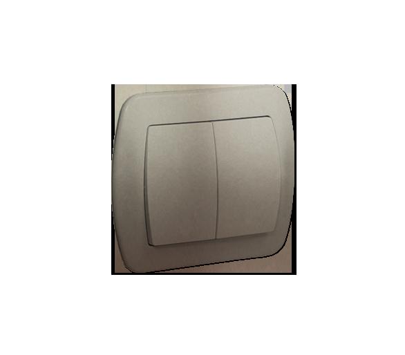 Łącznik schodowy podwójny z podświetleniem satynowy, metalizowany 10AX AW6/2L/29