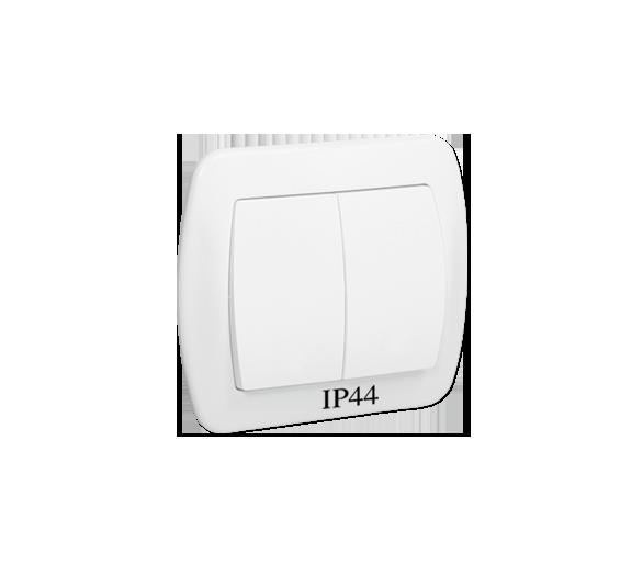 Łącznik schodowy podwójny bryzgoszczelny IP44 biały 10AX AW6/2B/11
