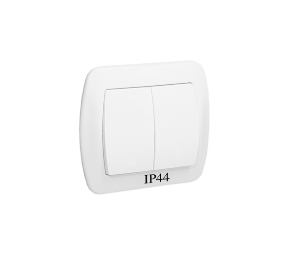 Łącznik schodowy podwójny z podświetleniem bryzgoszczelny biały 10AX AW6/2BL/11