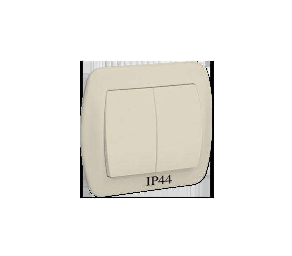 Łącznik schodowy podwójny z podświetleniem bryzgoszczelny beżowy 10AX AW6/2BL/12