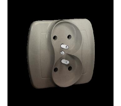 Gniazdo wtyczkowe podwójne z uziemieniem satynowy, metalizowany 16A AGZ2/29