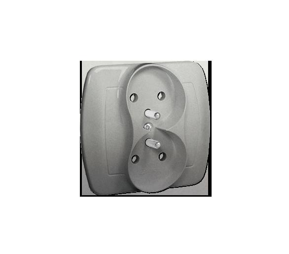 Gniazdo wtyczkowe podwójne z uziemieniem z przesłonami aluminiowy, metalizowany 16A