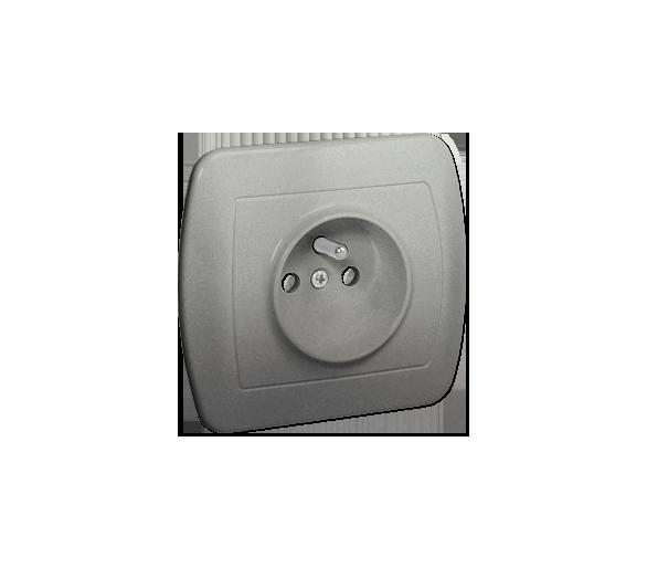 Gniazdo wtyczkowe pojedyncze z uziemieniem z przesłonami torów prądowych aluminiowy, metalizowany 16A