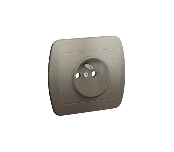 Gniazdo wtyczkowe pojedyncze z uziemieniem z przesłonami torów prądowych satynowy, metalizowany 16A AGZ1ZE/29