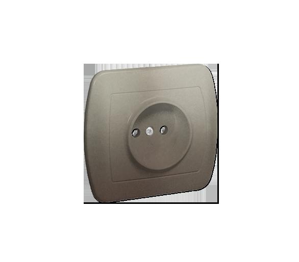 Gniazdo wtyczkowe pojedyncze bez uziemienia satynowy, metalizowany 16A AG1E/29