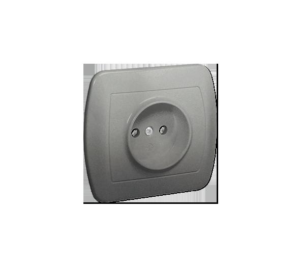 Gniazdo wtyczkowe pojedyncze bez uziemienia aluminiowy, metalizowany 16A