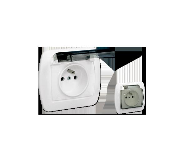 Gniazdo wtyczkowe pojedyncze z uziemieniem - w wersji IP44 - klapka z kolorze transparentnym biały 16A