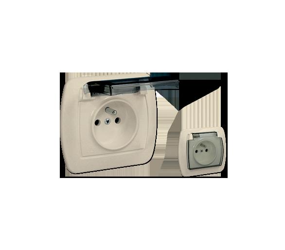 Gniazdo wtyczkowe pojedyncze z uziemieniem - w wersji IP44 - klapka z kolorze transparentnym beżowy 16A