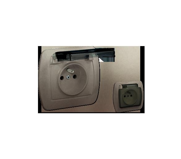 Gniazdo wtyczkowe pojedyncze z uziemieniem - w wersji IP44 - klapka z kolorze transparentnym satynowy, metalizowany 16A