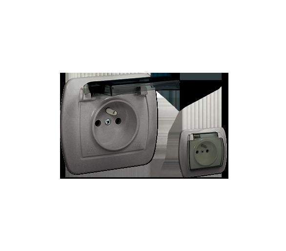 Gniazdo wtyczkowe pojedyncze w wersji IP44 z przesłonami torów prądowych -  klapka w kolorze transparentnym aluminiowy, metalizo