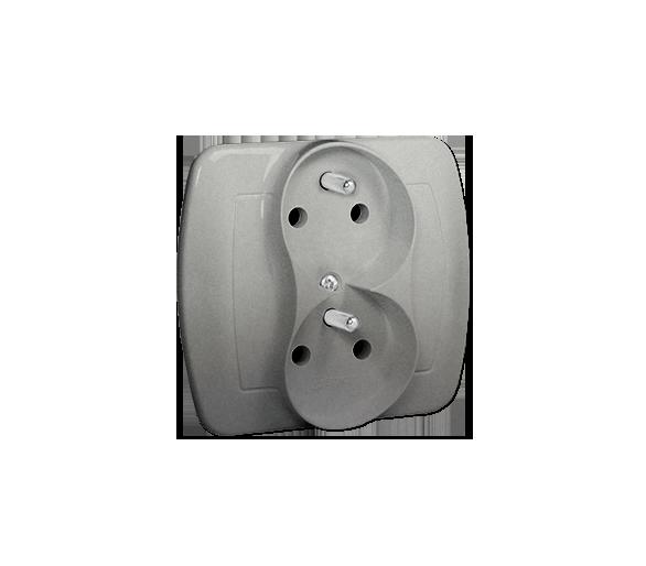Gniazdo wtyczkowe podwójne z uziemieniem z funkcją niezmienności faz aluminiowy, metalizowany 16A AGZ2CZ/26