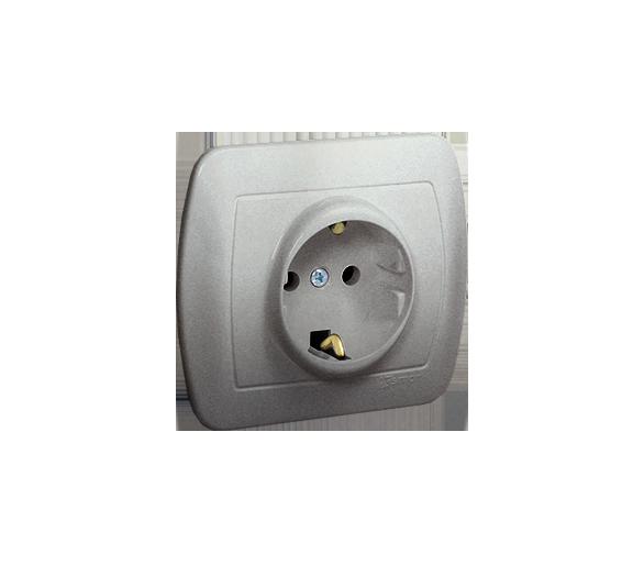 Gniazdo wtyczkowe pojedyncze z uziemieniem typu Schuko z przesłonami torów prądowych aluminiowy, metalizowany 16A AGSZ1ZE/26