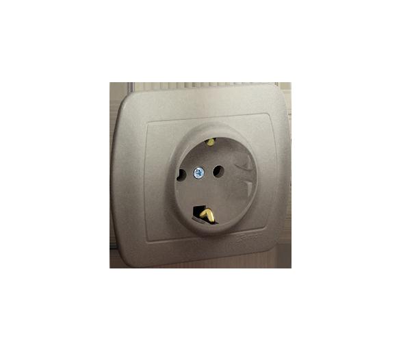 Gniazdo wtyczkowe pojedyncze z uziemieniem typu Schuko z przesłonami torów prądowych satynowy, metalizowany 16A AGSZ1ZE/29