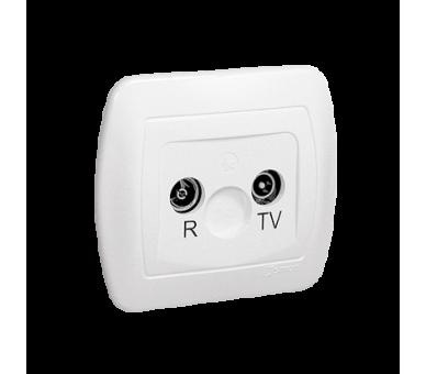 Gniazdo antenowe R-TV końcowe separowane tłum.:1dB biały AAK/11