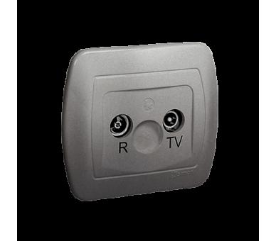 Gniazdo antenowe R-TV końcowe separowane tłum.:1dB aluminiowy, metalizowany AAK/26