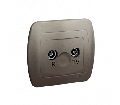 Gniazdo antenowe R-TV końcowe separowane tłum.:1dB satynowy, metalizowany AAK/29